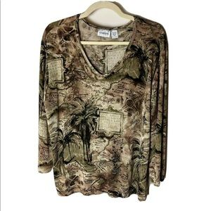 Chico's Travelers Women's Top Size 3 (XL, 16) 3/4 Sleeves Tropical Brown Green